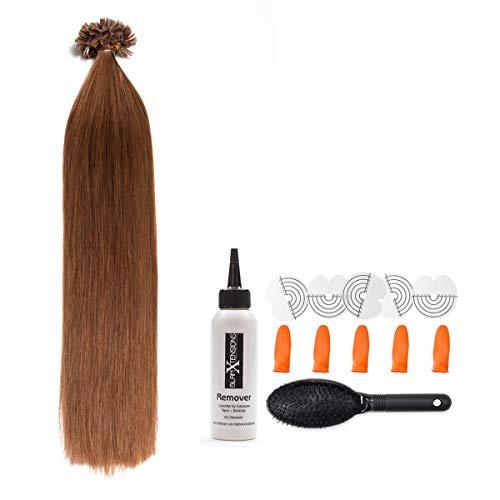 Goldbraune Bonding Extensions aus 100% Remy Echthaar - 300x 1g 60cm Glatte Strähnen - Lange Haare mit Keratin Bondings U-Tip als Haarverlängerung und Haarverdichtung in der Farbe #8 Goldbraun