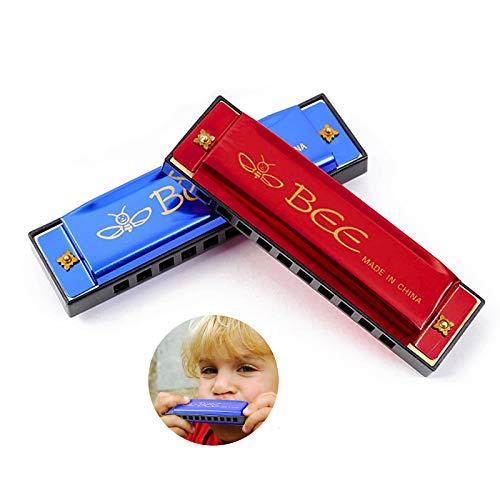 Armónica, Blues Harmonica, Armonica Infantil, Harmonica C 10 Agujeros 20 Tonos, Cubierta de Acero Inoxidable para Niños para Principiantes y Regalos con Estuche (Azul, Rojo)
