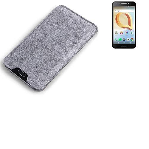 K-S-Trade® Filz Schutz Hülle Für Alcatel A30 Plus Schutzhülle Filztasche Filz Tasche Case Sleeve Handyhülle Filzhülle Grau