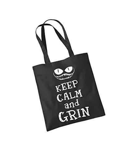 - Keep Calm and Grin - Baumwolltasche Schwarz, langer Henkel