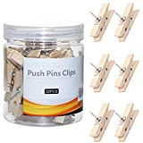 Push Pin Clips, Wooden Push Pins for Cork Board, Decorative Thumb Tacks for Bulletin Board, Cute Cork Board/Bulletin Board Pins Thumbtack, Cork Board Accessories (Solid Color, 32 PCS)