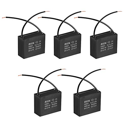 sourcing map Condensador De Funcionamiento CBB61 450V AC 6Uf 2 Cables Condensadores De Película De Polipropileno Metalizado para Ventilador De Techo 5Pcs