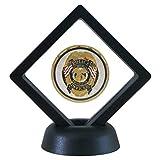 SH Challenge Coin Display Frame, 3D Floating Display Case Stand Holder, Medallion Medal Specimen Military Coin Clear Box (Black)