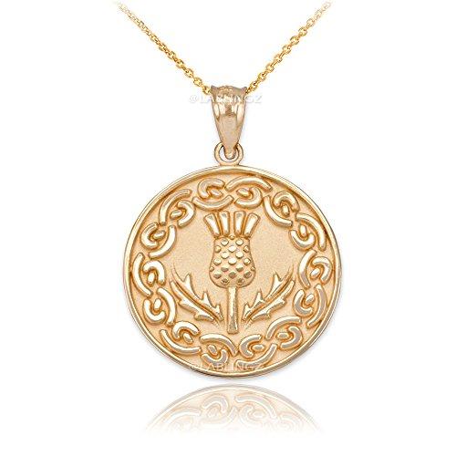 Irish Jewelry 10K Yellow Gold Scottish Thistle Flower Medallion Pendant Necklace (16)