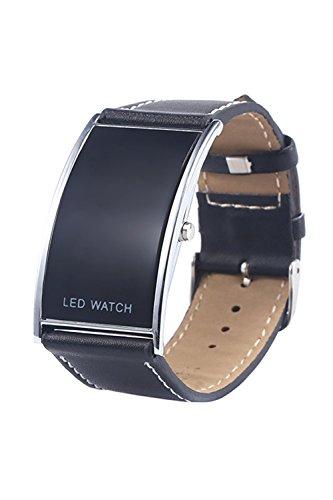 Reloj de pulsera - SODIAL(R)Hombre Mujer Forma de arco LED Digital Fecha Correa de cuero de imitacion Moda Reloj de pulsera Negro