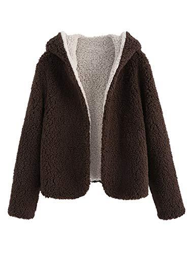 ZAFUL Cappotto con Cappuccio da Donna Invernale Teddy Reversibile Cardigan con Cappuccio Hooded Felpa Outwear (XL, caffè)