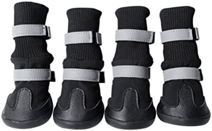 UEETEK Botas para Perros Antideslizantes Zapatos para Perros Impermeables Negro 4 Unidades Size XL