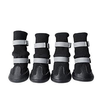 POPETPOP Antidérapant pour Animaux de Compagnie Bottes de Neige Chaussures de Protection Chaussures de Pluie Chien Taille m (Noir)