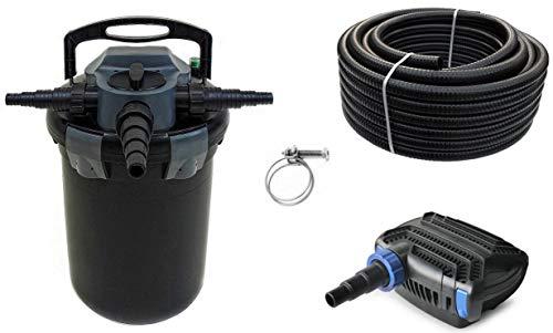 AquaOne Teich Filteranlage Set Nr.60 CBF 8000 Druckfilter 10W Eco Teichpumpe Teichgröße bis 8000l Teichschlauch Bachlauf UV Lampe