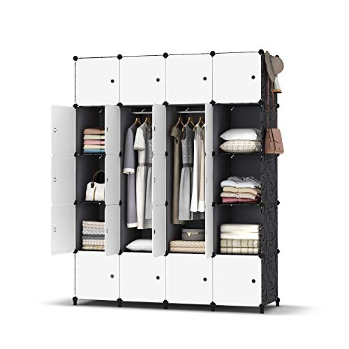 HOMIDEC Portable Wardrobe 20 Cube Closet with 3 Clothes Hanging Rods, Combination Armoire Modular Cabinet Space Saving Storage Organizer Unit for Bedroom Clothes Shoes Toys Books Towels