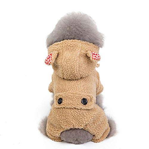 KSITH huisdier hond kleding herfst en winter capuchon Teddy kat warme jas vierbenige katoenen jas, S, kaki
