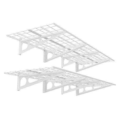 FLEXIMOUNTS 2' x 6' White 2-Pack 2x6ft 24-inch-by-72-inch Wall Shelf Garage Storage Rack, 24