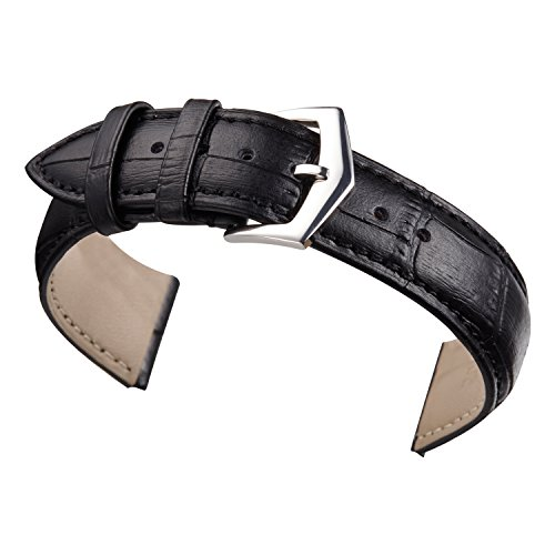 18 mm orologio in pelle nera sostituzione banda cinturino in alligatore imbottito grana classica fibbia ad ardiglione