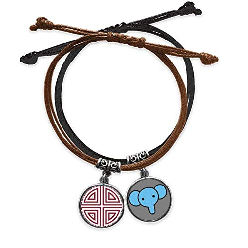 CaoGSH Traditional Four China Chinese Symbol Bracelet Rope Hand Chain Leather Elephant Wristband