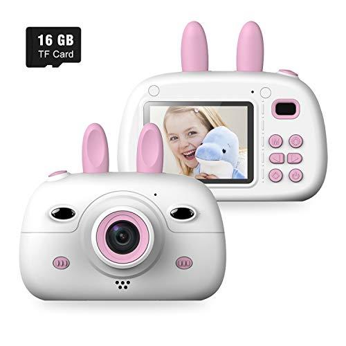 """WELUV Kinder Kamera Für Junge Mädchen Digital Kamera 8MP 1080P HD 2.4""""Bildschirm Silikon Stoßfest Videokamera mit 16G TF Karte Weihnachten Geburtstag Geschenke (Pink)"""