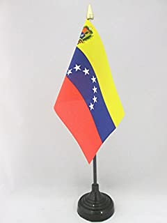 AZ FLAG Venezuela Old 7 Stars with arms Table Flag 4'' x 6'' - Former Venezuelan Desk Flag 15 x 10 cm - Golden Spear top