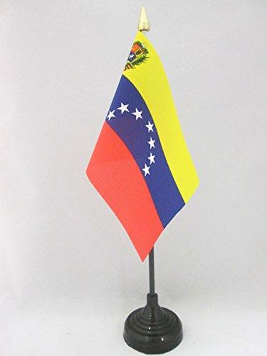 AZ FLAG Bandera de Mesa de Venezuela Antigua con Escudo 15x10cm - BANDERINA de DESPACHO VENEZUELANA con Armas 10 x 15 cm Punta Dorada