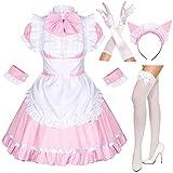 Japanese Anime Sissy Maid Dress Cosplay Sweet Classic Lolita Fancy Apron Maid Dress with Socks Gloves Set (Pink)(XL = Asia XXL)