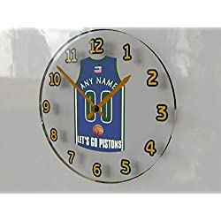 Basketball Wall Clocks - 12 X 12 X 2 N B A Jersey Themed Clock - Eastern Conference Let's GO !! (Let's Go Pistons Edition)