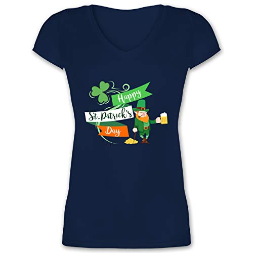 St. Patricks Day - Happy St. Patricks Day Kobold - 3XL - Dunkelblau - st Patricks Day Tshirt - XO1525 - Damen T-Shirt mit V-Ausschnitt