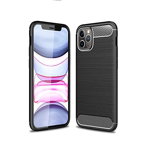 Pudazvi Compatible with iPhone 12/12 Pro case,Ultra Slim Soft TPU Shock-Absorption & Anti Slip Anti Scratch Drop Cover Case for iPhone 12/12 Pro 6.1 inches 2020 Release,Fiber Black