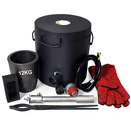 TOAUTO 12 KG LARGE CAPACITY Propane Melting Furnace Foundry Kit with CRUCIBLE, TONGS Kiln, Up to 2600°F/1425°C, 0-30 PSI ,Smelting Gold Silver Copper Scrap Metal Recycle (12KG Propane Melting Furnace)