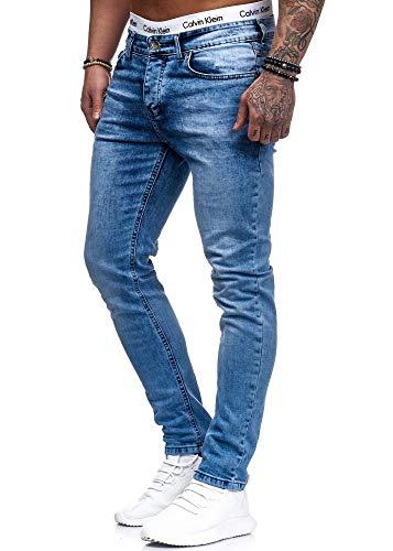 Herren Designer Chino Jeans Hose Basic Stretch Jeanshose Slim Fit W28-W36 Hellblau 5080 W28 L32