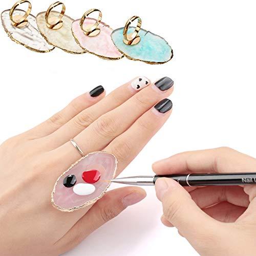 FireKylin 6 Pcs Resin Stone Color Nail Art Ring Palette Finger Ring Plate Acrylic UV Gel Polish Cream Foundation Mixing Nail Art Equipment Tool