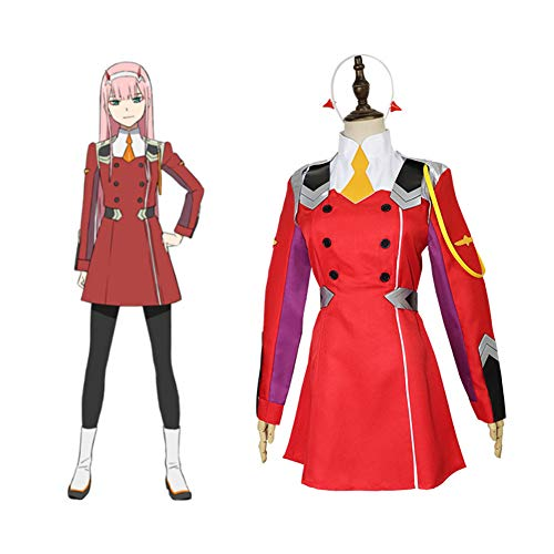 Darling in The FRANXX Zero Two Anime Cosplay Kostüm Halloween Spiel Party Kostüm Kleid Set,Rot,S