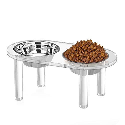 NIUBEE Raised Dog Bowls, Clear Acrylic Elevated Pet Feeder with 2 Dishes for Food and Water - 7 Inches Height (2 Bowls, Medium)