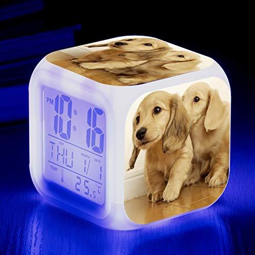 Totots Anime Alarma Reloj Golden Retriever, Luz de noche colorida, Patrón de Animal Square Reloj de alarma electrónico, Perro doméstico Snooze Reloj despertador, Reloj luminoso de la cabecera silencio