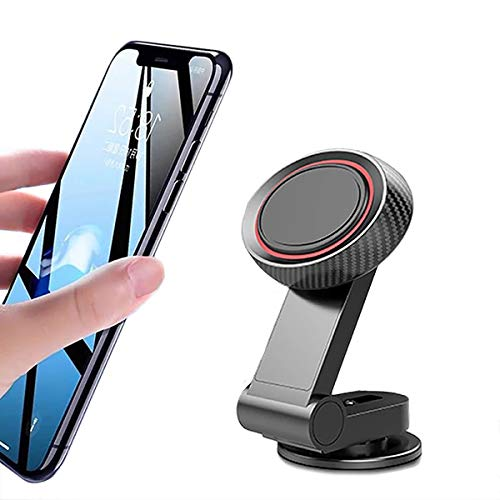 AC GSM - Soporte magnético para teléfono de coche mini sobre salpicadero universal 360 ° rotación, portátil, imán adhesivo para smartphone, compatible con iPhone, Samsung, Huawei,