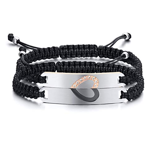 Gamtic Customize Adjustable Rope Couples Bracelets for Women Men Personalized Name Date ID Love Jewelry