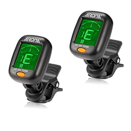 Guitar Tuner 2 Set, Meeland Mini Clip-on Tuner for Guitar/Bass/Ukulele and Violin/Anti-Interference Color LCD Display/Battery Included/Auto Power Off (2 PACK)