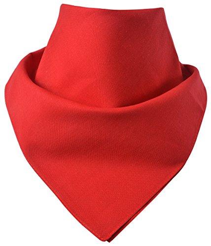 Miobo - Bandana/foulard da collo, 100% cotone, taglia unica rosso tinta unita M