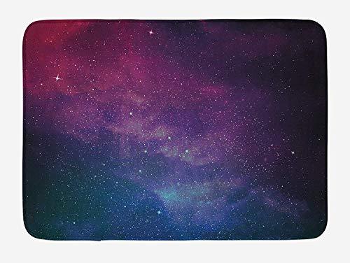 MSGDF Star Bath Mat, Universe Filled with Stars Nebula and Galaxy Cassiopeia Interstellar Astronomy, Plush Bathroom Decor Mat with Non Slip Backing, 23.6 W X 15.7 W Inches, Magenta Blue Black