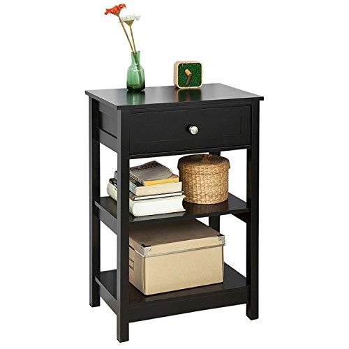 SoBuy® FBT46-SCH Beistelltisch Nachttisch Couchtisch in schwarz mit Einer Schublade und 2 Ablagen BHT ca: 45x68x30cm