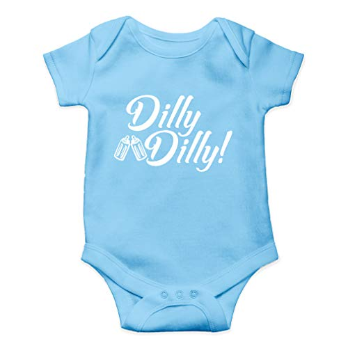 Dilly Dilly - Drink and Cheers with Daddy, Daddy's Drinking Buddy - Cute One-Piece Infant Baby Bodysuit (Newborn, Light Blue)