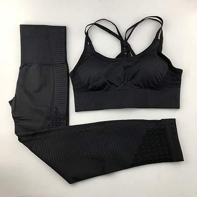 N/D MMA-YUJIAKU Mode Damen Fitness-Anzug Sportswear Seamless Yoga-Anzug Frauen Fitness Hosen schnüren Sich Oben Sport-Unterwäsche 2-teilige Sport (Color : Black, Size : M)