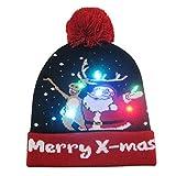 Apricot blossom 2020 Fiesta de Navidad Año Nuevo Luz de luz LED de Navidad Sombreros de la Gorrita Tejida de Punto Jersey de Punto de Navidad hasta Hat for Niños Adultos para (Color : 12)