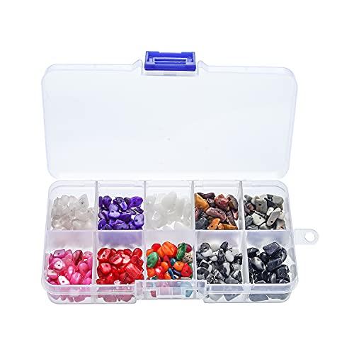 HXSCOO 4-8mm Piedra triturada Irregular Piedra Natural 10 cuadrícula combinada Caja de Accesorios de joyería de Bricolaje (Color : 3)