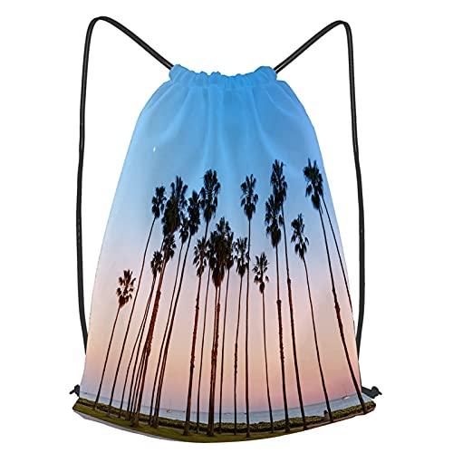 Unisex Yoga Cinch Sack Drawstring Bags california sunset palm tree rows...