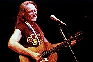 Willie Nelson 24x18 Poster Concert Smiling Shot with Guitar