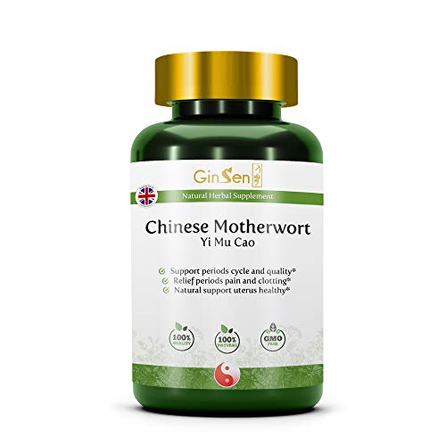 GinSen, Chinese Motherwort Natural Herbal Supplement Helps Balance Hormones, Irregular Menstrual Cycle & Abdominal Pain, Traditional Chinese Medicine Made in The UK (120 Tablets)
