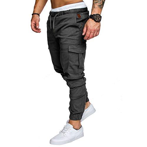 Pantalons Homme Sarouels Pantalons de Jogging Pantalons Jogger Casual Danse Sportwear Baggy Sweat Pants Pantalon de Sport Hiver Pantalons de Survêtement (XL, Gris foncé)