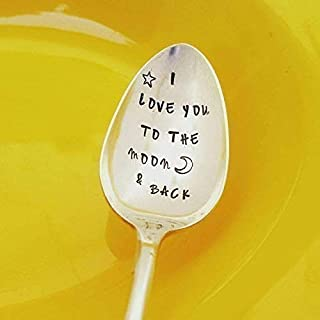 I Love You To The Moon & Back - Hand Stamped Spoon - Cereal Spoon - Engraved Spoon