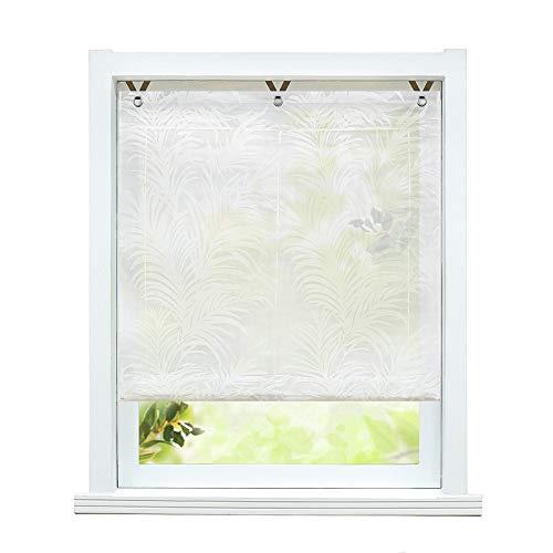 ESLIR Raffrollo ohne Bohren Raffgardinen Ausbrenner Ösenrollo Modern Gardinen mit Ösen Vorhänge Halbtransparent Weiß #2 BxH 120x130cm 1 Stück