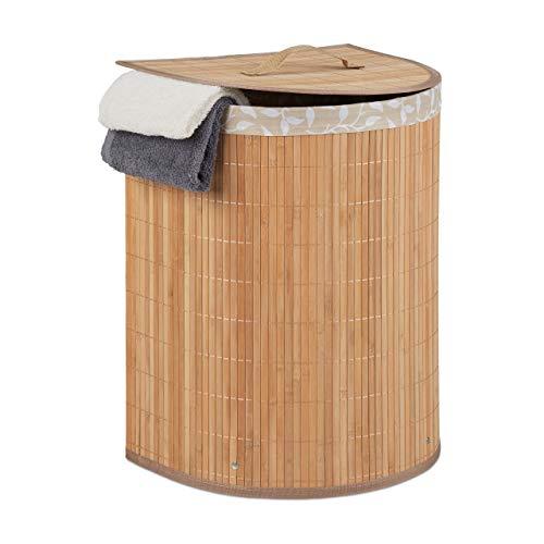 Relaxdays Cesto para la colada de bambú, 30 l, para baño y dormitorio, ahorra espacio, plegable, semicircular, con tapa, natural