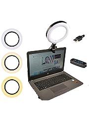 Aubess 6 tums ringljus för bärbar dator, mini bärbar ringlampa, 10 typer av ljusstyrka, 3 typer av belysningslägen, för Youtube video/Twitter/makeup/selfie/fotografi/live/Tiktok