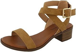 Top Moda Women's Vision-75 Ankle Strap Open Toe Heeled Sandal
